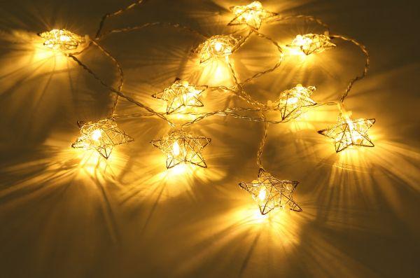 LED LICHTERKETTE METALL SILBERFARBEN, 10XLED