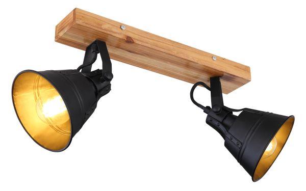 Faretto legno marrone, 2xE27