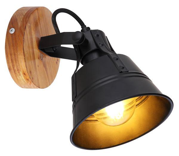 Faretto legno marrone, 1xE27