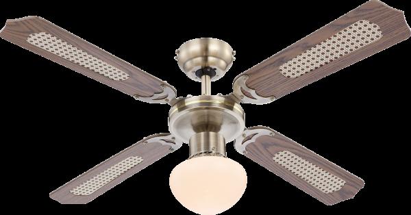 Ventilatore metallo ottone anticato, 1xE27