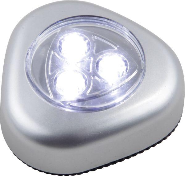 Luce con accensione a pressione plastica argento m