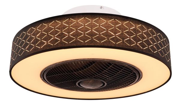 Ventilatore metallo nero, 1xLED