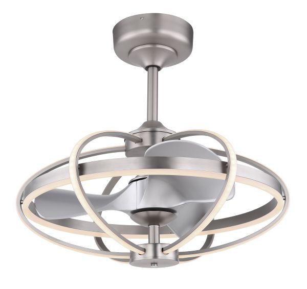 Ventilatore metallo nichel satinato, 1xLED