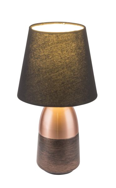 Lampada tavolo metallo color rame, 1xE14
