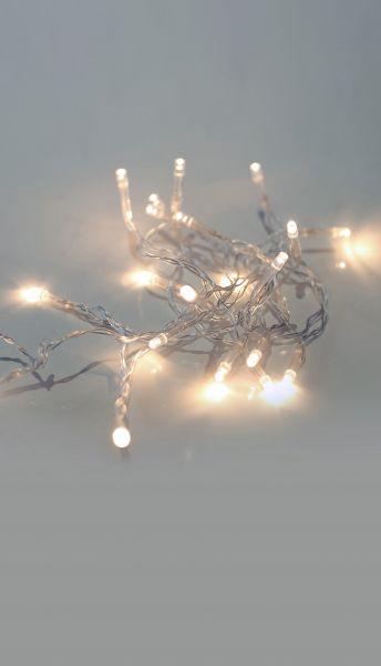 Catena luminosa a LED metallo argento metallizzato