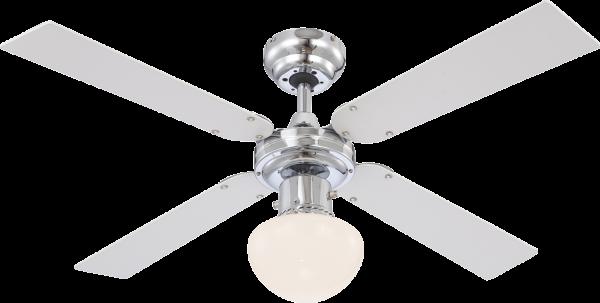 Ventilatore metallo cromo, 1xE27